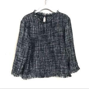 Drew black tweed longsleeve top large